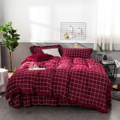 2018新款水晶绒床裙款四件套 1.8m(6英尺)床 朱砂红