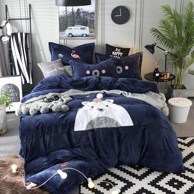 2018新款水晶绒可爱熊四件套 1.8m(6英尺)床 可爱熊-藏青