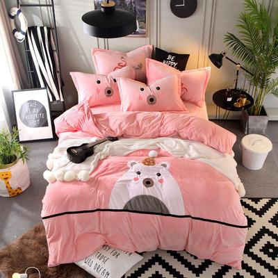 2018新款水晶绒可爱熊四件套 1.8m(6英尺)床 可爱熊-粉玉