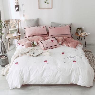 2018新款-水洗棉拼绒绣花四件套 1.5m(5英尺)床 小树莓