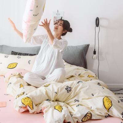 2019新品全棉130*70四件套 三件套1.2m(4英尺)床 清新柠檬