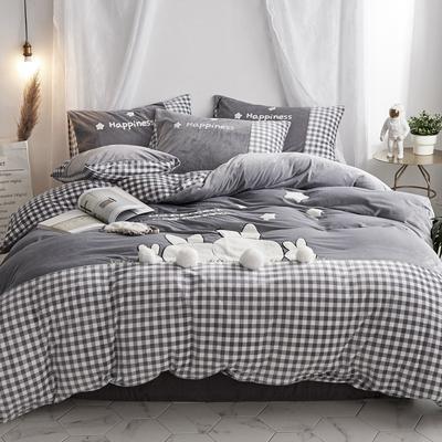 2019新款-宝宝绒兔子家园四件套 床单款1.8m(6英尺)床 萌灰
