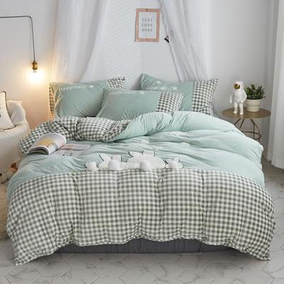 2019新款-宝宝绒兔子家园四件套 床单款1.8m(6英尺)床 萌绿