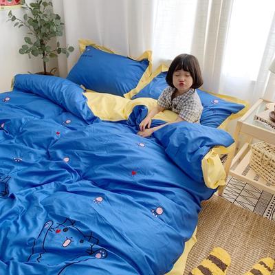 2019新款-全棉13372绣花四件套三只猫咪 床单款1.8m(6英尺)床 三只猫咪蓝色