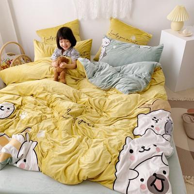 2019新款-宝宝绒四件套 床单款1.5m(5英尺)床 云朵熊