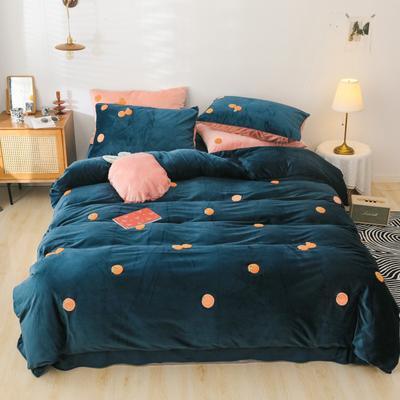 2019新款-橘子四件套系列 床单款1.5m床-1.8m床 深蓝橘子