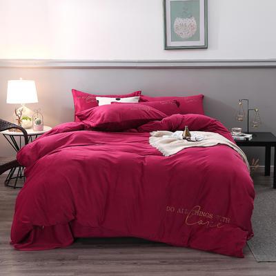 2019新款-轻奢风绣花纯色宝宝绒水晶绒四件套 床单款1.5m床-1.8m床 宝石红