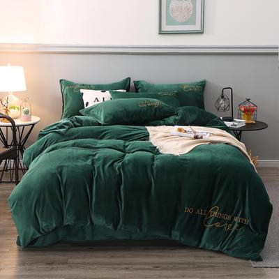 2019新款-轻奢风绣花纯色宝宝绒水晶绒四件套 床单款1.5m床-1.8m床 宫廷绿
