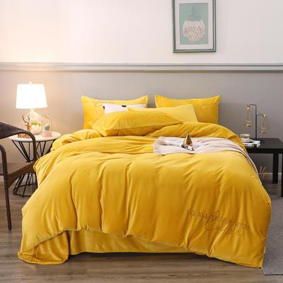 2019新款-轻奢风绣花纯色宝宝绒水晶绒四件套 床单款1.5m床-1.8m床 柠檬黄