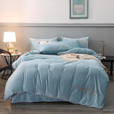 2019新款-轻奢风绣花纯色宝宝绒水晶绒四件套 床单款1.5m床-1.8m床 天空蓝