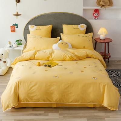 2019新款-喷气全棉四件套 床笠款1.8m(6英尺)床 淡黄
