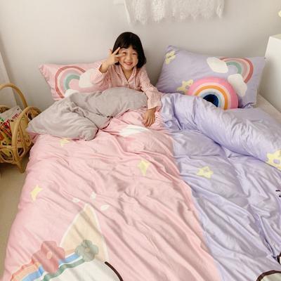 2019新款-印花宝宝绒四件套 床单款1.8m(6英尺)床 情侣独角兽