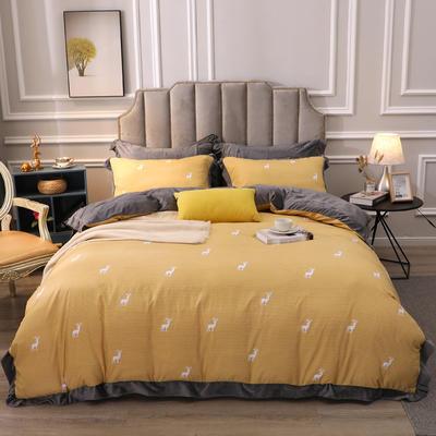 2019新款-棉加绒花边款小清新时尚保暖水晶绒牛奶绒四件套 床单款四件套1.8m(6英尺)床 5麋鹿