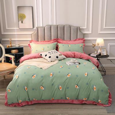 2019新款-棉加绒花边款小清新时尚保暖水晶绒牛奶绒四件套 床单款四件套1.8m(6英尺)床 6牛油果