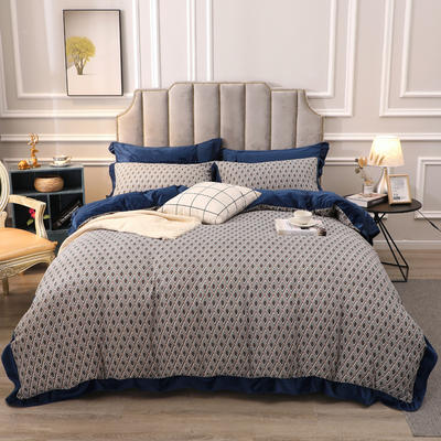 2019新款-棉加绒花边款小清新时尚保暖水晶绒牛奶绒四件套 床单款四件套1.8m(6英尺)床 7记忆