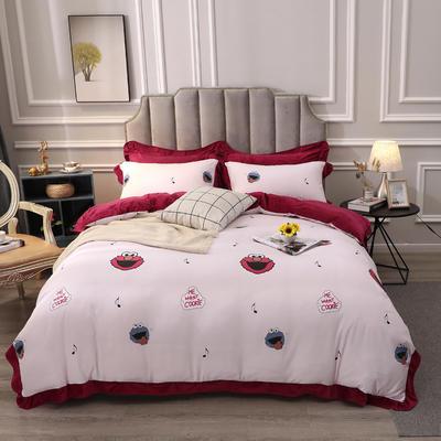 2019新款-棉加绒花边款小清新时尚保暖水晶绒牛奶绒四件套 床单款四件套1.8m(6英尺)床 8芝麻街