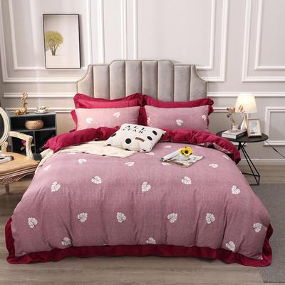 2019新款-棉加绒花边款小清新时尚保暖水晶绒牛奶绒四件套 床单款四件套1.8m(6英尺)床 9枫叶