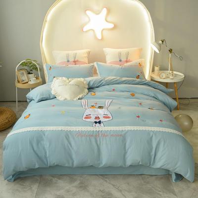 2020新款-兔子先生四件套 床单款1.5m(5英尺)床 浅绿
