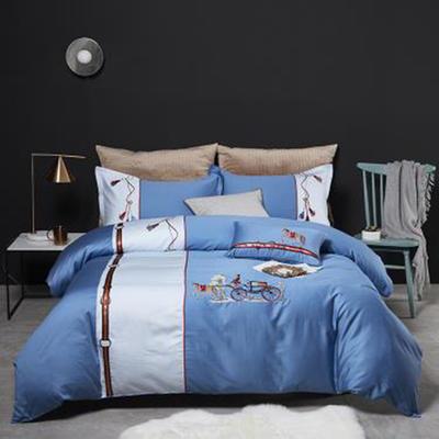 2019新款60S长绒棉绣色系列高档四件套 1.8m(6英尺)床 蓝色