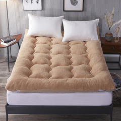 2018新款羊羔绒羽丝绒床垫 90x200cm 驼色