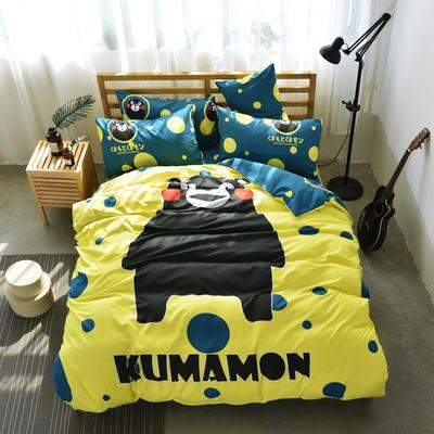 2018新款卡通熊本熊巴布豆磨毛四件套 1.5m(5英尺)床 圆圆熊本