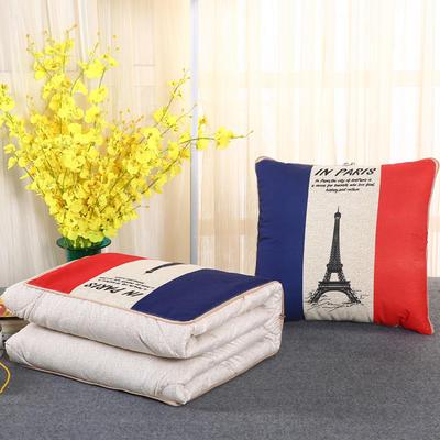 2018新款亚麻风格卡通磨毛绗缝抱枕被 50X50cm 巴黎铁塔