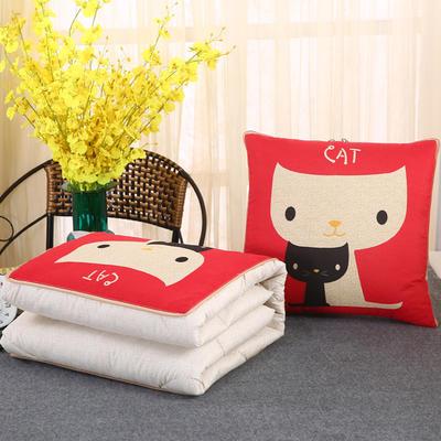2018新款亚麻风格卡通磨毛绗缝抱枕被 40X40cm 黑白猫咪