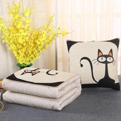 2018新款亚麻风格卡通磨毛绗缝抱枕被 40X40cm 黑猫