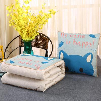 2018新款亚麻风格卡通磨毛绗缝抱枕被 40X40cm 快乐猫