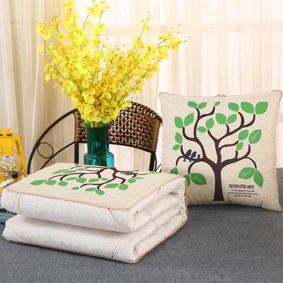 2018新款亚麻风格卡通磨毛绗缝抱枕被 40X40cm 绿叶树