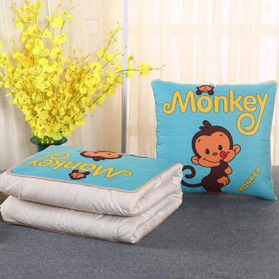 2018新款亚麻风格卡通磨毛绗缝抱枕被 40X40cm 小猴子