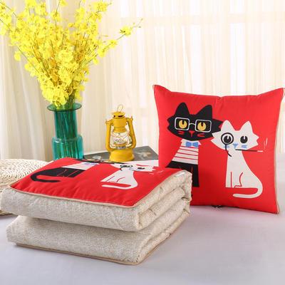 2018新款亚麻风格卡通磨毛绗缝抱枕被 40X40cm 眼睛猫夫妇