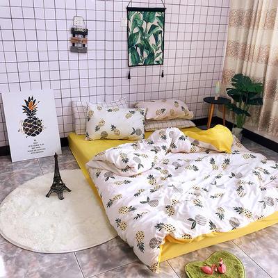 2018新款印花水洗棉四件套 1.5m(5英尺)床 菠萝蜜