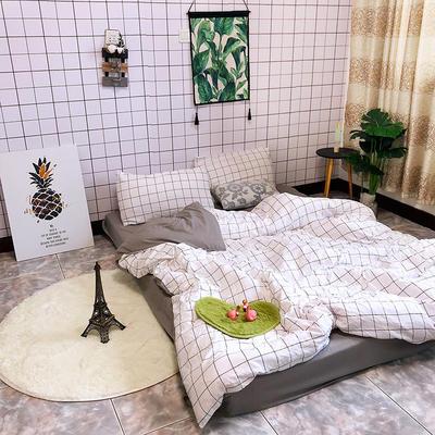 2018新款印花水洗棉四件套 1.5m(5英尺)床 黑白配