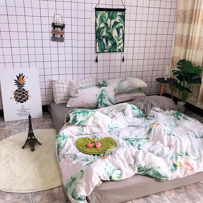 2018新款印花水洗棉四件套 1.5m(5英尺)床 绿色心情