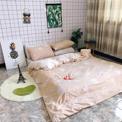 2018新款印花水洗棉四件套 1.5m(5英尺)床 叶漫漫-卡其