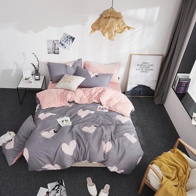 2018新款专利爆款三边拉链棉加绒四件套 1.2m(4英尺)床 桃乐丝之吻