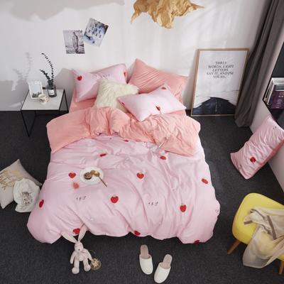 2018新款专利爆款三边拉链棉加绒四件套 1.2m(4英尺)床 草莓甜心