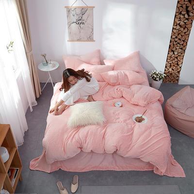 2018新款专利爆款三边拉链水晶绒四件套 1.5m床单款 水晶绒·爱心粉