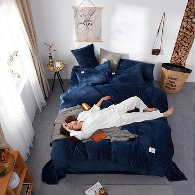 2018新款专利爆款三边拉链水晶绒四件套 1.5m床单款 水晶绒·魅影蓝