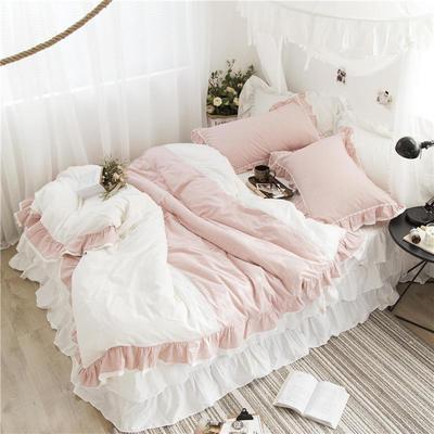 2019新款色织全棉水洗棉床裙款四件套 2.0m四件套 粉白