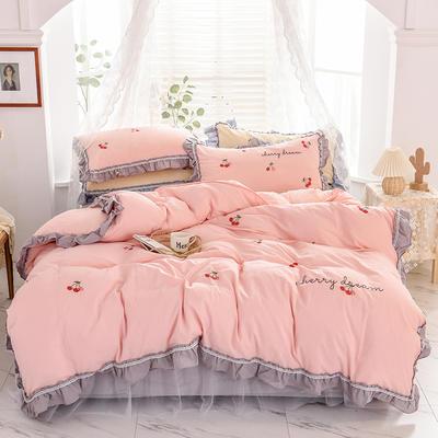 2020新款全棉色织水洗棉床裙款四件套- 樱桃 1.5m床裙款 樱桃-粉
