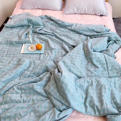 2020新款日系莱卡棉全棉夏被-格子 150x200cm 格子-绿