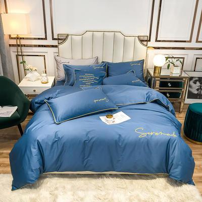 2020新款60s天丝棉绣花四件套-米兰 1.5m床单款四件套 米兰-宝石蓝