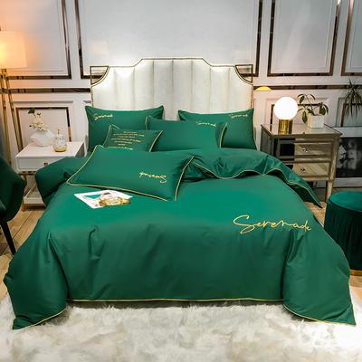 2020新款60s天丝棉绣花四件套-米兰 1.5m床单款四件套 米兰-孔雀绿