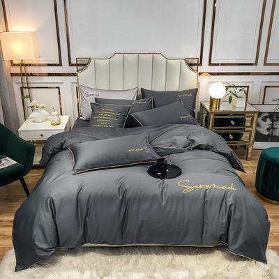 2020新款60s天丝棉绣花四件套-米兰 1.5m床单款四件套 米兰-绅士灰