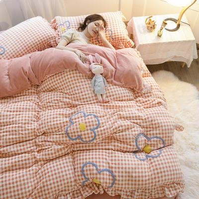 2020新款牛奶绒毛巾绣四件套-白天图 1.2m床单款三件套 蜜桔格