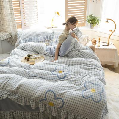 2020新款牛奶绒毛巾绣四件套-白天图 1.2m床单款三件套 青柠格