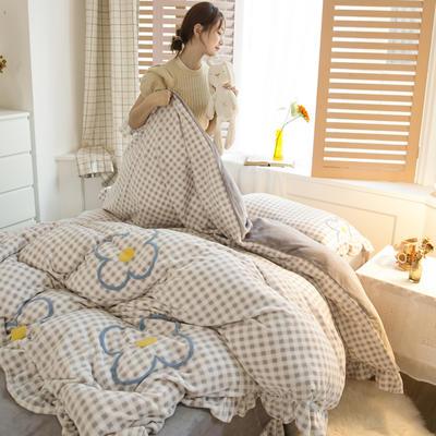 2020新款牛奶绒毛巾绣四件套-白天图 1.2m床单款三件套 小灰格