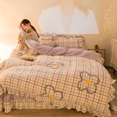 2020新款牛奶绒毛巾绣四件套-夜景图 1.2m床单款三件套 淡紫格